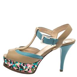 Fendi Multicolor Leather And Lizard Embossed Trim T-Strap Fendista Platform Sandals Size 37 298527