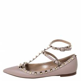 Valentino Beige Leather Rockstud Pointed Toe Ankle Strap Ballet Flats Size 37.5 299450