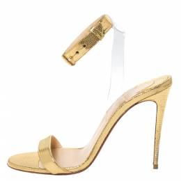 Christian Louboutin Gold Lizard Embossed Leather And PVC Jonatina Sandals Size 37.5 299453