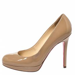 Christian Louboutin Beige Patent Leather New Simple Platform Pumps Size 36 299215