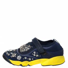Dior Blue Fabric And Mesh Neoprene Fusion Embellished Low-Top Sneakers Size 39 299488