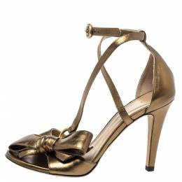 Chloe Metallic Bronze Leather Bow Detail Ankle Strap Sandals Size 38 299264