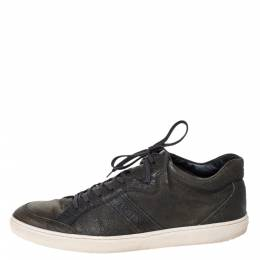 Tod's Green Leather Low Top Lace Up Sneakers Size 45.5 298505