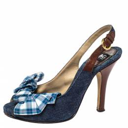 Dolce&Gabbana Blue Denim And Check Fabric Bow Embellished Slingback Sandals Size 37 298503