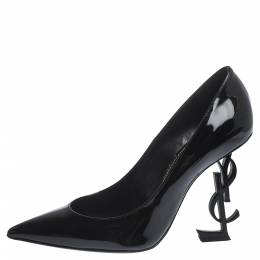 Saint Laurent Black Patent Leather Opyum Pointed Toe Pumps Size 37 298510