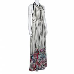 Elie Saab Monochrome Striped Silk Floral Print Halter Maxi Dress M 299137
