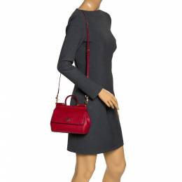 Dolce&Gabbana Red Leather Small Miss Sicily Top Handle Bag 299244