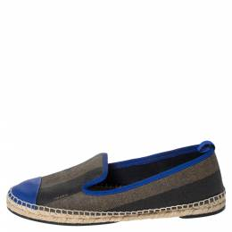 Fendi Blue/Brown Canvas And Leather Junia Espadrille Flats Size 39 299246
