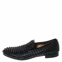 Christian Louboutin Black Leather Roller Boy Spiked Loafers Size 42.5 299251
