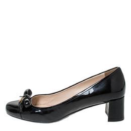 Prada Sport Patent Leather Bow Round Toe Pumps Size 39 299383