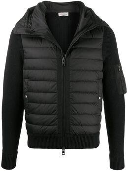 Moncler куртка с дутой вставкой спереди и капюшоном 9B50800A9340