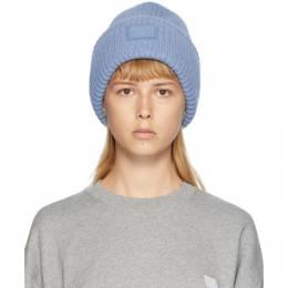 Acne Studios Blue Rib Knit Patch Beanie D40009-