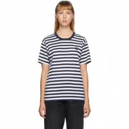 Acne Studios Navy and White Classic Fit Striped T-Shirt CL0069-