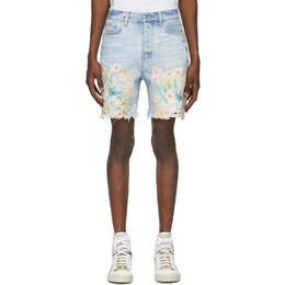 Amiri Blue Denim Floral Leaf Shorts F0M11199RD