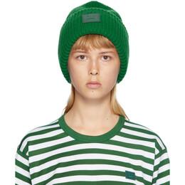 Acne Studios Green Rib Knit Patch Beanie D40009-