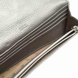Aigner White/Grey Nylon and Leather Flap Continental Wallet 299283