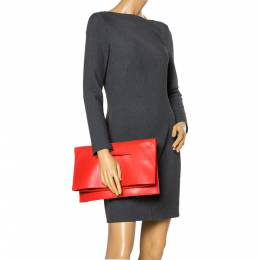 Celine Orange Leather Foldover Slim Clutch 299631