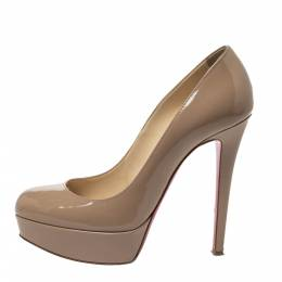 Christian Louboutin Nude Beige Patent Leather Bianca Platform Pumps Size 37 299630