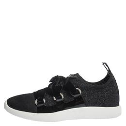 Giuseppe Zanotti Design Black Lurex And Velvet Maggie Slip On Sneakers Size 41 299605