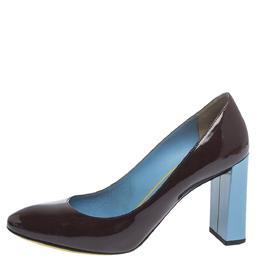 Fendi Burgundy Patent Leather Block Heel Pumps Size 37 299773