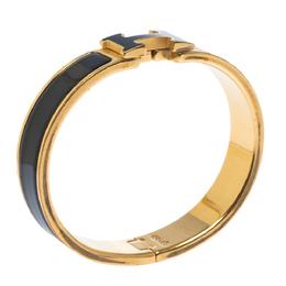 Hermes Clic H Black Enamel Gold Plated Narrow Bracelet PM 299619