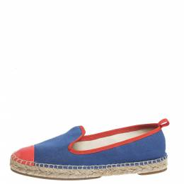 Fendi Blue Canvas And Pink Patent Leather Espadrille Cap Toe Flats Size 37.5 299397