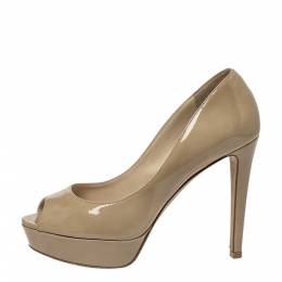 Jimmy Choo Beige Patent Leather Crown Peep Toe Platform Pumps Size 35.5 299091