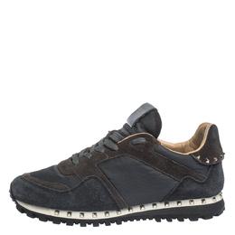 Valentino Dark Blue/Grey Suede And Camo Nylon Rockstud Sneakers Size 40 299557