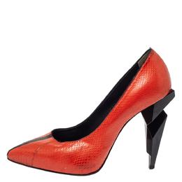 Fendi Orange Python Leather Diamond Heel Pumps Size 38.5 299234
