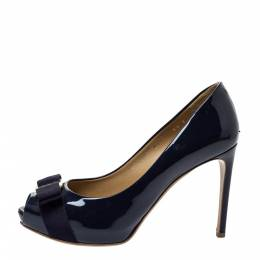 Salvatore Ferragamo Blue Patent Leather Vara Bow Peep Toe Pumps Size 37 299684