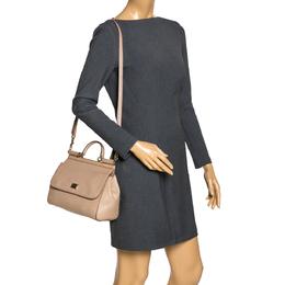 Dolce&Gabbana Beige Lizard Embossed Leather Medium Miss Sicily Top Handle Bag 299591