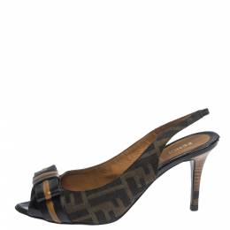 Fendi Brown Zucca Canvas And Leather Bow Slingback Sandals Size 37.5 299592