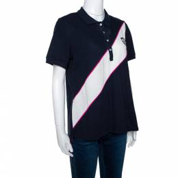 Ch Carolina Herrera Tricolor Knit Diagonal Panel Logo Embroidered Polo T-Shirt L 299693