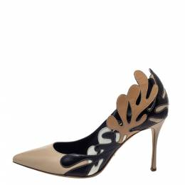 Sergio Rossi Multicolor Leather Cut Out Detail Pointed Toe Pumps Size 38 299667