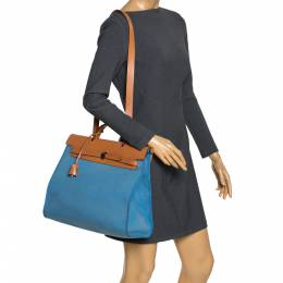 Hermes Natural/Blue Canvas and Leather Herbag Zip 39 Bag 299482