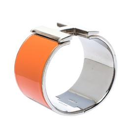Hermes Clic Clac H Orange Enamel Palladium Plated Extra Wide Bracelet PM 299261