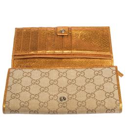 Gucci Beige/Gold GG Canvas Flap Continental Wallet 299714