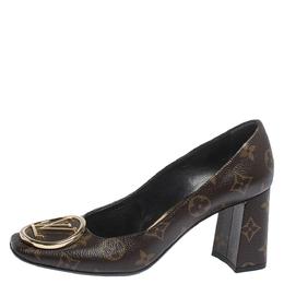 Louis Vuitton Monogram Canvas Madeleine Square Toe Pumps Size 37.5 299587