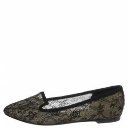 Dolce&Gabbana Black Lace And Suede Trim Ballet Flats Size 39 299724