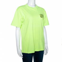 Off-White Fluorescent Yellow Printed Cotton T-Shirt S 299292