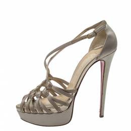 Christian Louboutin Beige Satin Knotted Strappy Platform Ankle Strap Sandals Size 39 299661
