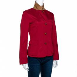 Loro Piana Red Nylon Button Front Jacket S 299155