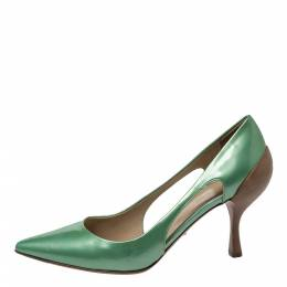 Sergio Rossi Green Patent And Brown Leather Cut Out Pumps Size 38 299554