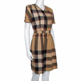 Burberry Brit Beige Giant Checked Cotton Belted Dress S 299593