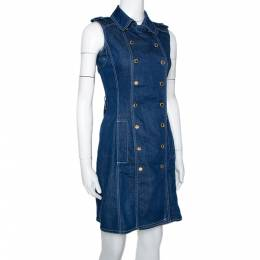 Ch Carolina Herrera Blue Denim Sleeveless Dress S 299699