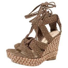 Paloma Barcelo Beige Woven Suede Ankle Wrap Espadrille Platform Wedge Sandals Size 38 299708
