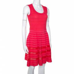 M Missoni Pink Knit Sleeveless Paneled A Line Dress M 299645