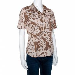 Gucci Brown Printed Cotton Short Sleeve Safari Shirt S 299655