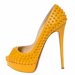 Christian Louboutin Yellow Leather Spikes Lady Peep Platform Pumps Size 38 299827