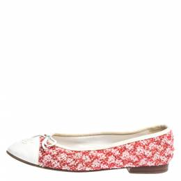 Chanel Red/White Sequin Tweed And Leather Cap Toe CC Bow Ballet Flats Size 38 299823